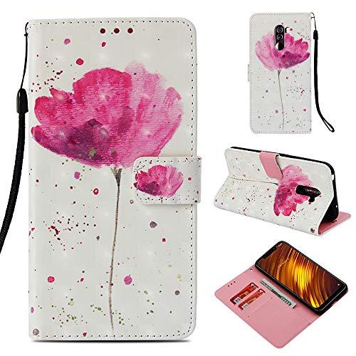 Shinyzone Flip Brieftasche Hülle für Xiaomi Pocophone F1,Blume 3D Bunt Gemälde 2 in 1 Buchstil...