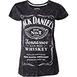 Jack Daniel's Damen T-Shirt Classic Old No.7 Brand Logo with Marble Wash Women's, Grey (ts240738jds-l), Schwarz (Black), Large