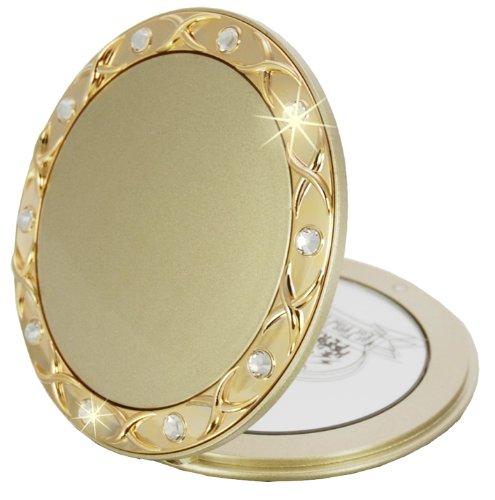 Fantasia Taschenspiegel Swarovski Elements - Gold, zweiseitig, normal und 10-fache Vergrößerung, Ø 8,5 cm, runder Klappspiegel