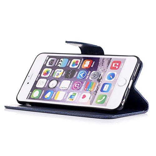 Coque iPhone 6, Coque iPhone 6S, LuckyW PU Housse en Cuir pour Apple iPhone 6 6S(4.7 pouces) Don't Touch My Phone Motif Clapet Flip Folio Wallet Portefeuille Case Elegant Durable Protecteur une Portab Bleu foncé 1