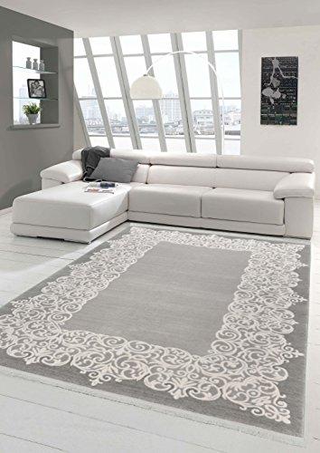 Designer Teppich Moderner Teppich Wollteppich Bordüre Design mit Fransen Wohnzimmer Teppich Grau Creme Größe 160x230 cm