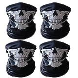 4pcs Multifunzione Teschio Ghost Skull Maschera Mezzo Cranio Seamless Bandana Facciale Moto Halloween Face Shields con Istruzioni Usura (50 * 25 cm, 2 pezzi (Rosso & Verde))