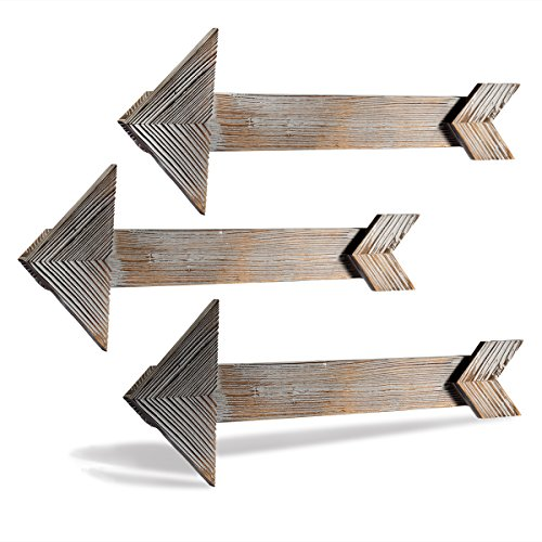 ONEDONE Flecha rústica Decorativa Barnwood de Madera de la visualización de Las Flechas decoración Vieja Muestra para el hogar o al Aire Libre (3pcs, 15 x 45 cm)