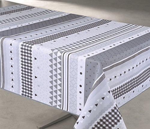 Nappe Anti-taches Rectangulaire 145x240cm - Frise Géo Gris