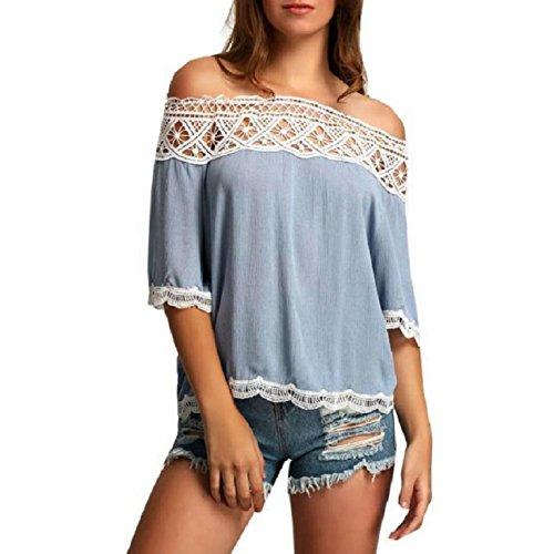 OverDose Damen Spitze weg vom Schulter-beiläufige kurze Hülsen-T-Shirt Spitzenbluse (S, Blau) (Crewneck Lady T-shirt Fit)