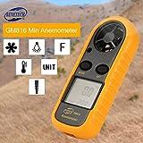 BENETECH GM816 Termómetro de anemómetro digital Velocidad del viento Medidor de flujo de aire de la velocidad del aire con retroiluminación LCD, naranja y negro