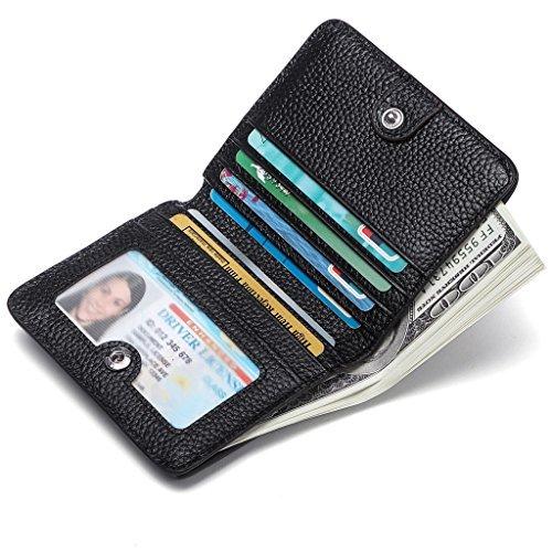 dbörse Damen Leder Geldbeutel RFID Schutz Portemonnaie Frauen Mini Klein Karten Portmonee Brieftasche Geldtasche mit Reißverschluss Münzfach und Druckknopf für Mädchen Schwarz ()