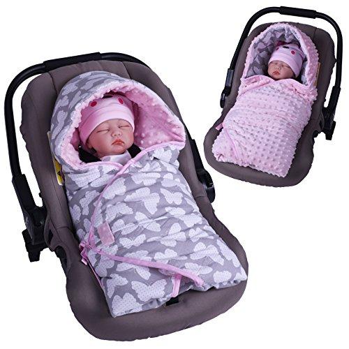 Sevira Kids Baby Mädchen Schlafsack rosa Butterfly Rose 0 - 6/9 mois