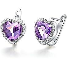 Daesar Joyería Pendientes de Mujer, Pendientes Platas Púrpura Cubic Zirocnia Aretes Corazón CZ Pendientes de Perno Prisionero