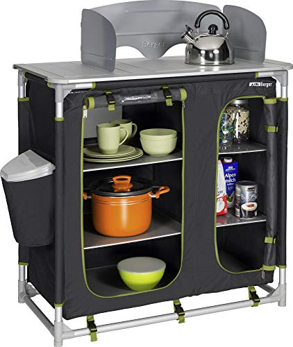 Berger Küchenbox Premium II 95 x 95 x 53 cm Campingküche Alu Schrank Faltschrank grau