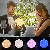 3D Mond Lampe Nachtlampe mit Holzhalterr, RebirthTree 13cm USB Aufladbar LED Nachtlicht 4 Farben Dimmbar Nachttischlampe Tischlampe Stimmungslicht für Haus Dekoration & Weihnachten Geschenk (Fernbedienung & Touch )