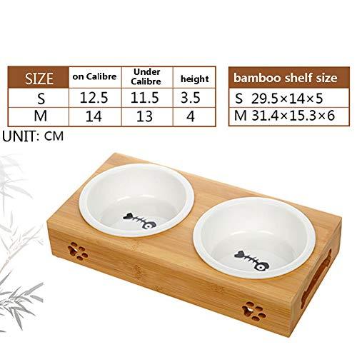 Zero Doppel Fressnapf Hundenäpfe Edelstahl/Keramik Erhöhter Bambus Stand Set Von Doppelschüsseln Kleine Hunde Und Katzen,Twobowlceramic,M