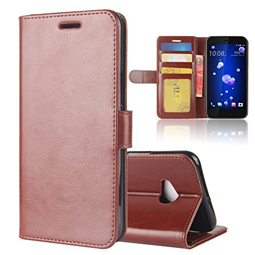 HTC U11 Life - Boys Daily Wallet Style Flip Cover Case for HTC U11 Life ONLY (HTC U11 Life Cover Brown) Htc Touch Defender Case