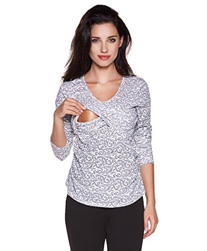 Be! Mama 2in1 Stillshirt, Umstandsshirt , Modell: MELA Weiss mit Muster