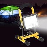 Akku Flutlicht, 24 LED Akku Strahler 30W Scheinwerfer handlampe Tragbare Werkstattlampen Wasserdicht Außenstrahler(EU)