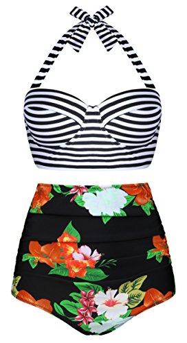 Aixy Frauen Vintage Blumendruck Hoch Taille Halter Neck Bademode Bikini Zwei Stück (Halfter Stück 2 Bademode)