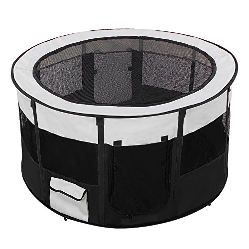Songmics Waterproof Fabric Pet Playpen with Removable Bottom 92 x 92 x 48 cm Black PPP92H