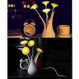 MagiDeal Acryl Vase Design USB LED Nachtlicht Nachttischlampen Schreibtisch Lampe Licht Stimmungslicht für Schlafzimmer Kinderzimmer Tisch Deko - Gelb