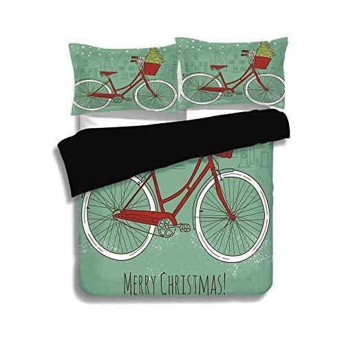 Schwarzer Bettbezug Set, Weihnachten, handgezeichnete Vintage Bike mit kleinen Weihnachtsbaum Haus Silhouetten Schnee dekorativ, Mandel grün rot weiß, dekorative 3 Stück Bettwäsche Set von 2 Pillow Sh - Trockner Mandel