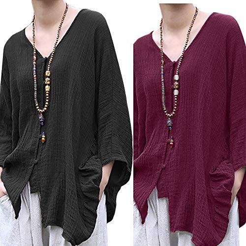 DIKEWANG Women Cotton Linen Long Blouse Irregular Hem Buttons Loose Casual Vintage Top Shirt Dress Blouse Button Down Tops