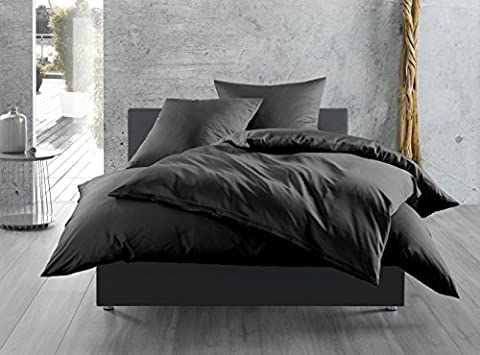 Mako-Satin Baumwollsatin Kissenbezug uni einfarbig zum Kombinieren (40 cm x 80 cm, Schwarz)
