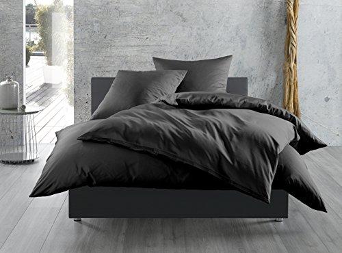 Mako-Satin Baumwollsatin Bettbezug uni einfarbig zum Kombinieren (155 cm x 220 cm, Schwarz) Schwarz-weiß-und-bettwäsche