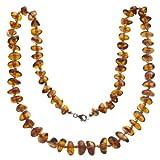 InCollections Damen-Bernsteinkette 40 cm mit Federringverschluß Silber vergoldet