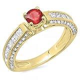 Damen Ring 14 Karat Gelbgold Rund & Princess Schnitt Echte Rubin & Diamant Verlobungsring