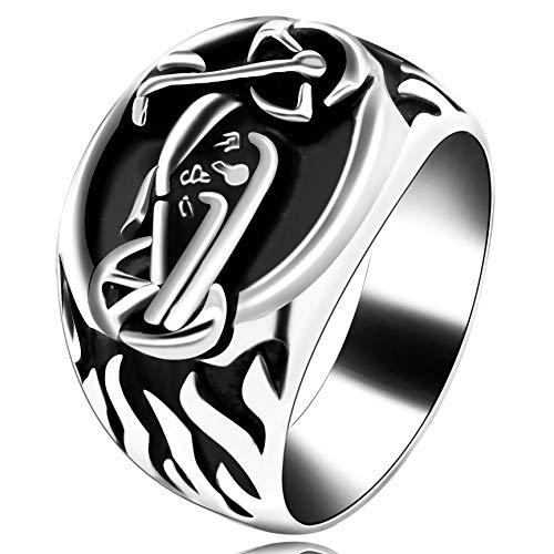 Uloveido Punk Bike Hip Pop Ring für Männer Jungen Motorrad Flammenmuster Edelstahl Ringe für Papa Freund Geburtstagsgeschenk Y510 (Ring Bike)