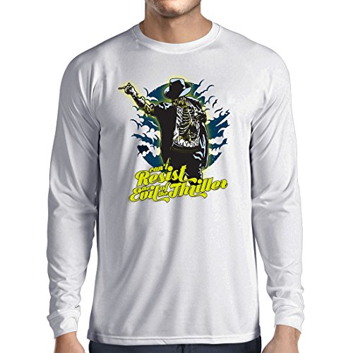 Langarm Herren t Shirts Vintage Band Kleidung, 80er Konzert Waren (Large Weiß Mehrfarben)