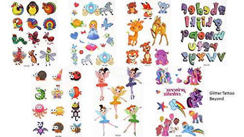 7fogli con tatuaggi temporanei, con porporina, con motivo a forma di principessa, adatto come regalo per bambini