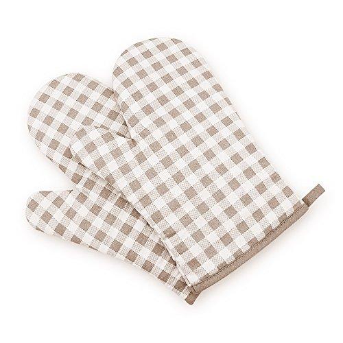 Paar Gedruckt (XFAY 444 A Paar Gedruckte Baumwolltuch Hitzebeständig Ofenhandschuhe Verdickte Hitzeresistente Topflappen Backhandschuhe -beige kariert)