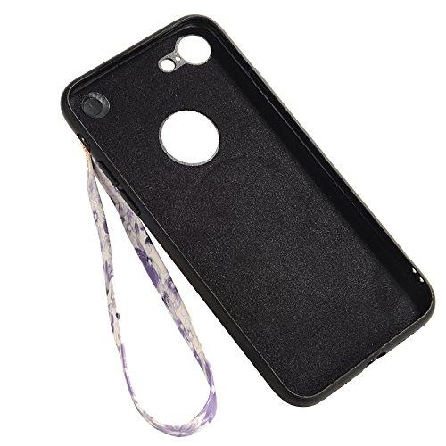 iPhone 6sPlus Hülle, Gelb Kirschblüten-Serie CLTPY iPhone 6Plus Handytasche [Schwarz Silikon Rahmen + Hart Plastik Abdeckung] mit PU Leder Lanyard für Apple iPhone 6Plus/6sPlus + 1 x Freier Stylus Weiß