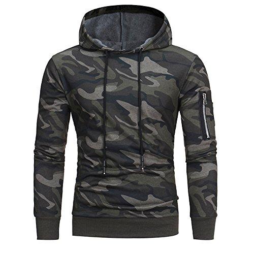 ZYUEER Hoodie Pull Sweat À Capuche pour Hommes GarçOns Pullover Sweat-Shirt Chemisier Modern Et Casual Manteau Blouson (Camouflage, M)