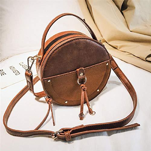 LIZHON Vintage kleine runde Tasche Peeling Pu Leder Handtasche für Frauen Mode einfache Schulter Messenger Bag Damen Mini Tote @ Brown_China Vintage Fine China