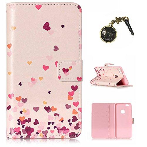 Preisvergleich Produktbild für Huawei P10 Lite Case Leder Tasche Case Hülle im Bookstyle mit Standfunktion Kartenfächer für Huawei P10 Lite Hülle +Staubstecker (3)