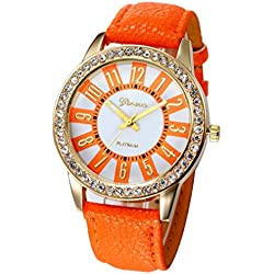 WINWINTOM Women Stainless Steel Analog Leather Quartz Wrist Watch Orange