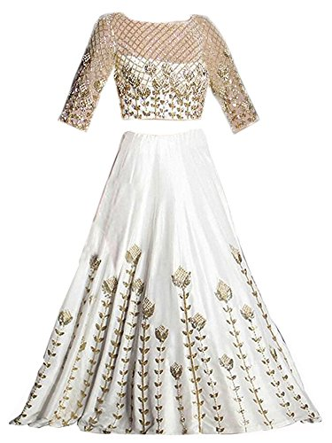 Amiga Fashion Girl's Banglori Silk Semi-Stitched Lehenga With Unstitched Choli (White_Free Size)