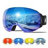 KUYOU Skibrille Pro für Damen & Herren, Snowboardbrille mit magnetisch wechselsystem, helmkompatible Schneebrille mit OTG UV400 Schutz, Ski Goggles für Skifahren (Blau VLT14%)