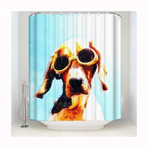 Knbob Duschvorhang Wasserfest Hund mit Sonnenbrille Hund mit Sonnenbrille Shower Curtain 137X198CM Inkl. Duschvorhangringe Wohnaccessoires