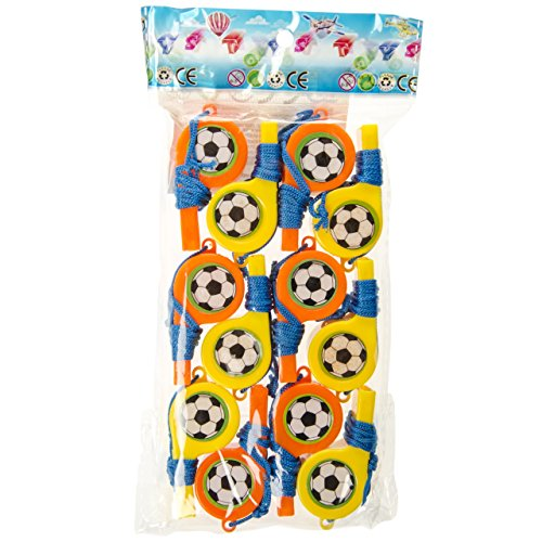 Lg-Imports 12x Kinder Trillerpfeife Signalpfeife mit Band Fussball Mitgebsel Tombola Party