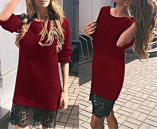 Smile YKK Femme Sweat-shirt Chemise Robe Dentelle Tricot Manches Longue Moulante Uni Vin Rouge
