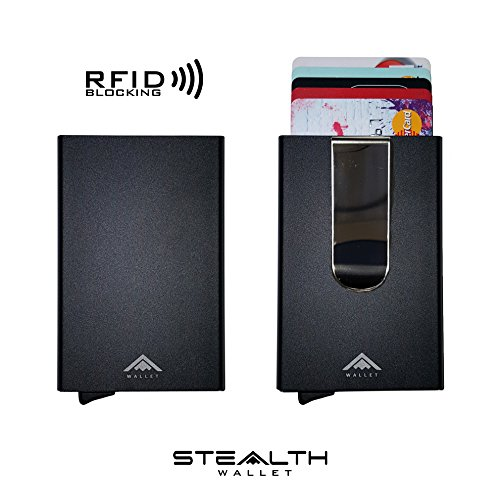 [NEW ARRIVAL] Aluminium RFID Blocking Credit Card Holder Ejector Wallet by STEALTH [IMPROVED 2017 MODEL] (Black with money clip)