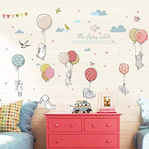 Atiehua Cartoon Diy Super Niedlichen Ballon Kaninchen Wandaufkleber Für Kinderzimmer Vögel Wolke Dekor Möbel Kleiderschrank Schlafzimmer Wohnzimmer Aufkleber