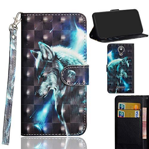 Ooboom Alcatel Pixi 4 5 Inch Hülle 3D Flip PU Leder Schutzhülle Handy Tasche Case Cover Ständer mit Trageschlaufe Magnetverschluss für Alcatel Pixi 4 5 Inch - Wolf