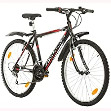 """Name PROBIKE Brand:  CoollooK Mountainbike  Rahmen: Gefederter Hi-Ten Stahlrahmen  Rahmenhöhe: 51 cm (26""""x20"""")Gabel:Federgabel mit 1 1/8"""" Gewindeschaft Vorbau:1 1/8"""" Stahl-Schaftvorbau SchwarzFelgen:Mach1-110-SIL, Hinterradnabe - 36H Stahl, Vordere N..."""