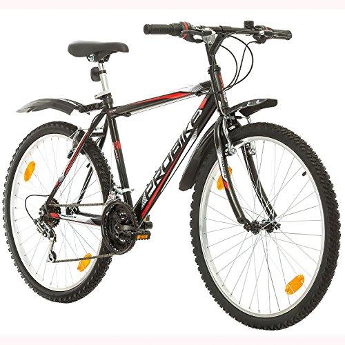 Multibrand Distribution Coollook PROBIKE 26 Zoll Fahrrad Felge Mountainbike MTB Weiss Glanz Starren Rahmen Fahrradherren Rad Bike Cycling, Rahmen 51 cm, 18-Gang EU-Produkt (Schwarz+Kotflügel) (Mountainbike Rad)