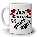 Personalizzato. Anniversario di matrimonio regali per coppie Just Married 50anni fa tazza di caffè, stampato su entrambi i lati.