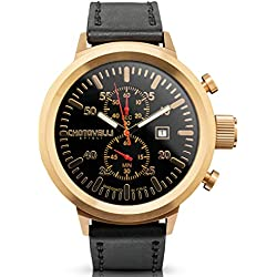 Chotovelli Big Pilot Men's Watch Chronograph Analogue Display Black leather Strap 747.14