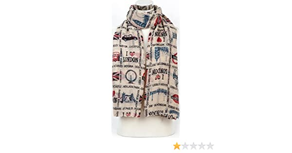 London Souvenir Fashion UK Map Print Scarf Wrap Shawl Sarong White